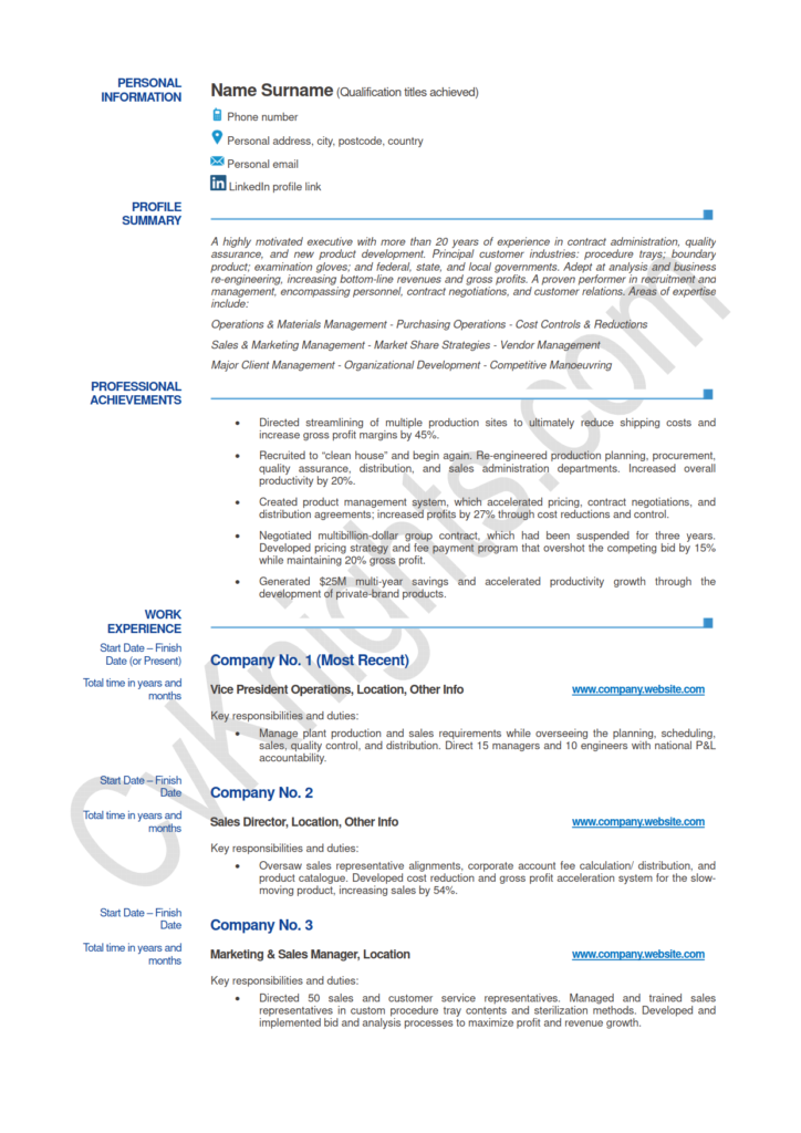 CV Example - Senior Operations Manager_1