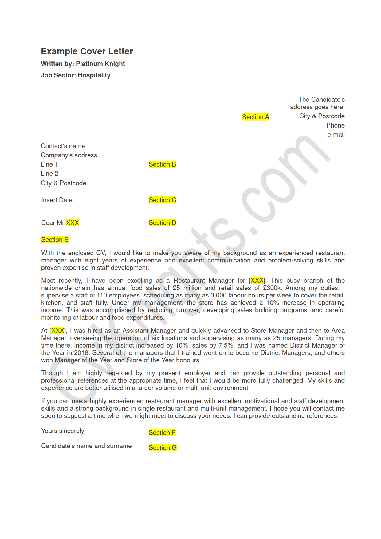 Cover Letter Template Hospitality